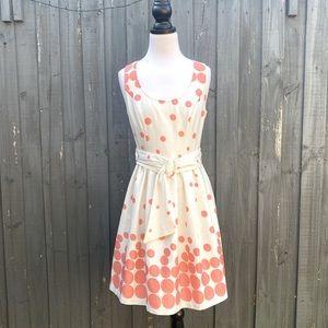 Review Coral Sleeveless Polka Dots Dress AU10